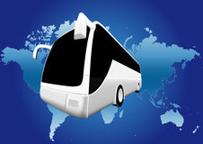 Bus world travel. Travel the world by bus royalty free illustration