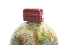 Bus on world travel concept Royalty Free Stock Photos