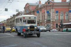 Bus ZIS-8 on the Nevsky Prospekt. The parade of vintage transport in Saint-Petersburg Stock Photos