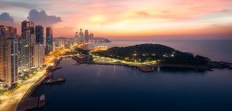 Busan beach with sunrise sky on summer Royalty Free Stock Photos
