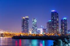 Busan city at night Stock Images