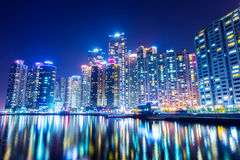 Busan city at night Royalty Free Stock Images