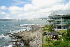 Busan coast walk APEC building stock photos