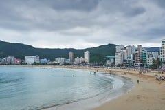 Busan, Corée - 19 septembre 2015 : Plage de Songjeong Images libres de droits