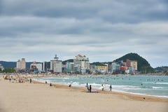 Busan, Corée - 19 septembre 2015 : Plage de Songjeong Image stock