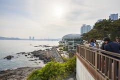 Busan, Coreia - 21 de abril de 2017: O APEC de Nurimaru é ficado situado na ilha de Dongbaekseom e construído para a ?a reunião d Foto de Stock Royalty Free