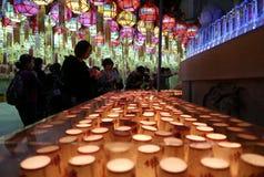 Busan, Coreia 4 de maio de 2017: Velas da oração do templo de Samgwangsa Imagens de Stock Royalty Free