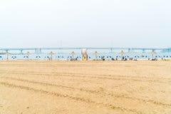 Busan, Coreia do Sul - 11 de julho: Praia uma de Gwangan do b popular Fotografia de Stock Royalty Free