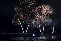 Busan Fireworks Festival 2016 - Night pyrotechnics Royalty Free Stock Photos