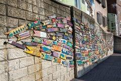 Busan gamcheon mural arts. The famous busan gamcheon culture village fish shaped mural art. Taken in Busan, South Korea royalty free stock photos