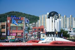 busan hamn södra industriella korea Arkivfoto