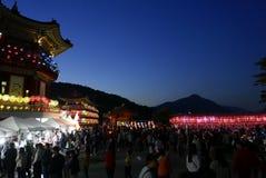 Busan, 4 Korea-Mei, 2017: Samgwangsatempel met lantaarns wordt verfraaid die stock fotografie