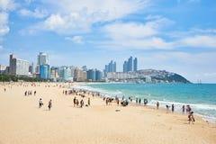 Busan Korea - September 19, 2015: Landskap av den Haeundae stranden Arkivbilder