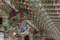 BUSAN - 27 OKTOBER, 2016: Overladen Jijangjeon-Zaal van Beomeosa stock foto