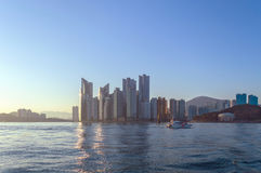 Busan scyscrappers and APEC Naru Park. View from sea Royalty Free Stock Photos
