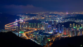 Busan, South Korea aerial view. At night Royalty Free Stock Image