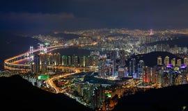 Busan, South Korea aerial view. At night Stock Photography
