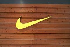 Nike. BUSAN, SOUTH KOREA - CIRCA MAY, 2017: close up shot of  Nike sign Stock Photo