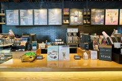 Starbucks. BUSAN, SOUTH KOREA - CIRCA MAY, 2017: sales area at Starbucks coffee shop in Busan. Starbucks Corporation is an American coffee company and royalty free stock images