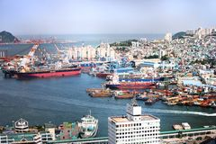 Busan South Korea industrial harbor Royalty Free Stock Images