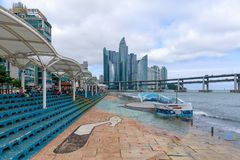 Haeundae skyline view from Millak Waterside Park royalty free stock photography