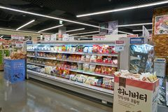 Lotte Mart. BUSAN, SOUTH KOREA - MAY 25, 2017: inside a Lotte Mart in Busan. Lotte Mart is an east Asian hypermarket that sells a variety of groceries, clothing Stock Images