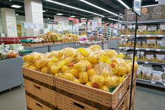 Lotte Mart. BUSAN, SOUTH KOREA - MAY 25, 2017: inside a Lotte Mart in Busan. Lotte Mart is an east Asian hypermarket that sells a variety of groceries, clothing Royalty Free Stock Photos