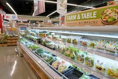 Lotte Mart. BUSAN, SOUTH KOREA - MAY 25, 2017: inside a Lotte Mart in Busan. Lotte Mart is an east Asian hypermarket that sells a variety of groceries, clothing Stock Photo