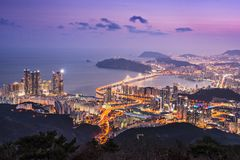 Busan, South Korea. Skyline of Busan, South Korea at night royalty free stock photos
