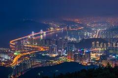 Busan stadshorisont, den bästa sikten av Busan, Sydkorea Royaltyfri Foto