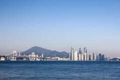 Busan-Stadt durch das Meer, Korea Lizenzfreie Stockfotografie