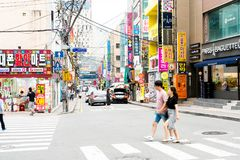 Busan Sydkorea - 11 Juli, 2017: Gatasikt av Haeundae Royaltyfri Bild