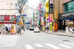 Busan Sydkorea - 11 Juli, 2017: Gatasikt av Haeundae Arkivfoto