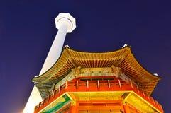 Busan Tower at night in Busan City, South Korea Royalty Free Stock Image