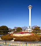 Busan Tower. Tourists at Busan Tower. The tower is a 118 meters high and was built in 1973 Royalty Free Stock Image