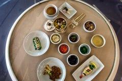 Busan, Zuid-Korea, 01/01/2018 Traditionele lunch Menu voor leden van de overheid bij de APEC-top royalty-vrije stock foto