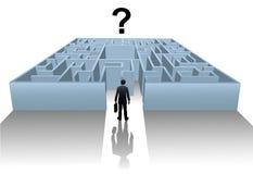 Busca do labirinto da pessoa para a solução do negócio Fotos de Stock Royalty Free