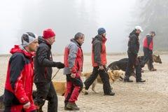 Busca e equipa de salvamento da cruz vermelha Fotos de Stock