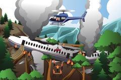 Busca e salvamento para o impacto de avião Imagens de Stock