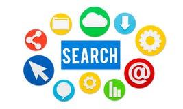 Busca que procura procurar procurando o conceito imagem de stock