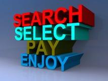 A busca, seleta, pagamento, aprecia Foto de Stock