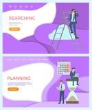 Buscando, desarrollo web, optimización de planificación stock de ilustración