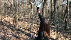 Buscas da mulher para o sinal do telefone nas madeiras video estoque