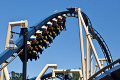 Busch Gardens. Tampa, United States - April 1, 2011: Busch Gardens roller coaster Montu thrills riders during an enjoyable sunny day at the theme park Stock Image