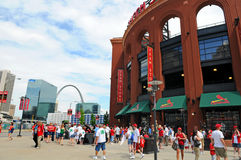 Busch Stadium and The Arch. ST LOUIS - MISSOURI: View of the Saint Louis Arch and Busch Stadium home of the Saint Louis Cardinals and site of the 2009 All Star royalty free stock images