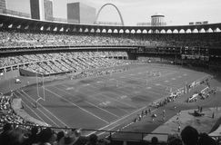 Busch Stadium set up for Cardinals Football. Vintage image of Old Busch Stadium set up for St. Louis Cardinals football. (Image taken from B&W negative royalty free stock image