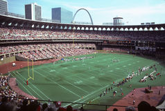 Busch Stadium set up for Cardinals Football. Vintage image of Old Busch Stadium set up for St. Louis Cardinals football. Image taken from color slide royalty free stock photography