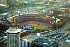 Busch Stadium - St Louis. Image taken from the top of the arch looking over busch stadium stock photography
