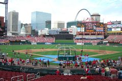 Busch Stadium, St. Louis. Batting practice before a Cardinals game, during a prior season Stock Images