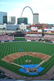 Busch Stadium - St. Louis Cardinals. Batting practice before a Cardinals game with a view of the Gateway Arch Stock Photography